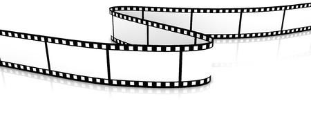 rollo pelicula: 3D zigzag de pel�cula en blanco sobre blanco de backgroung. Foto de archivo