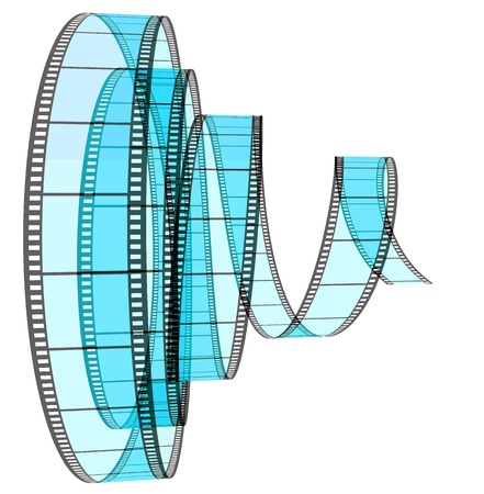 3d film Segment rolled forward on a white background Stock Photo
