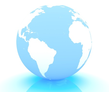 3d render of an earth globe on white background photo