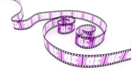 3d word on two transparent magenta film strips photo
