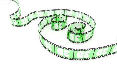 3d word on two transparent green film strips photo