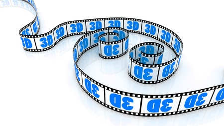 3d word on two colored film strips photo
