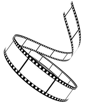 rollo pelicula: Acumulados a segmento de pel�cula en blanco sobre un fondo blanco Foto de archivo