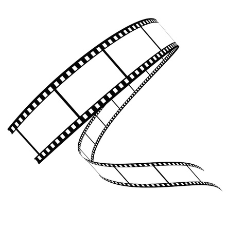movie film: film rolled down on a white background