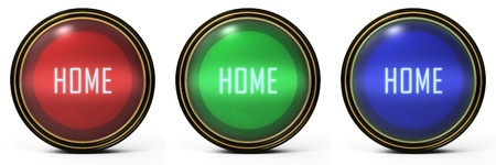 Black Gold Set. 3 orb icons with a home word photo