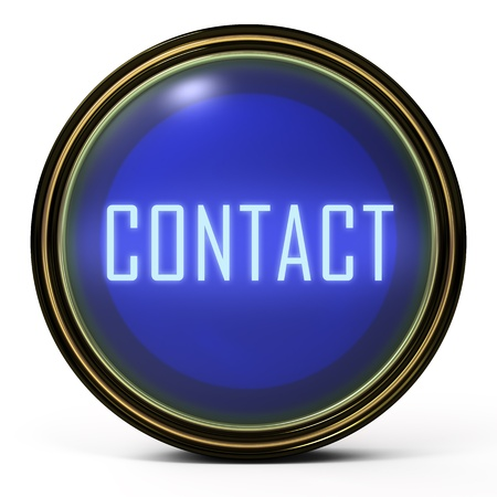 3d contact us: Black Gold button. Blue orb icon with a Contact word Stock Photo