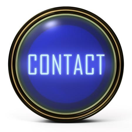 contact info: Pulsante di oro nero. Icona orb blu con una parola di contatto Archivio Fotografico