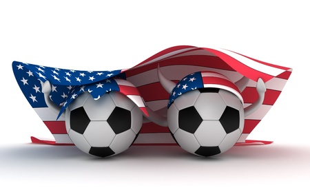 3D cartoon Soccer Ball characters like football fans with a USA flag.