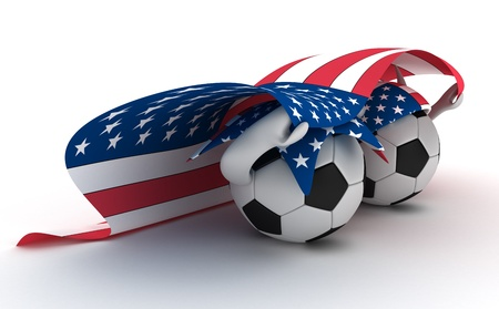 3D cartoon Soccer Ball characters like football fans with a USA flag. photo
