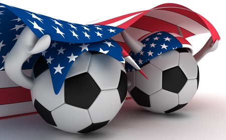 3D cartoon Soccer Ball characters like football fans with a USA flag. photo