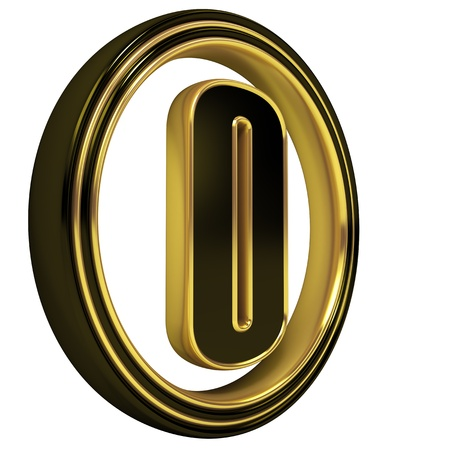 3D Letter zero in circle. Black gold metal Stock Photo - 8855520