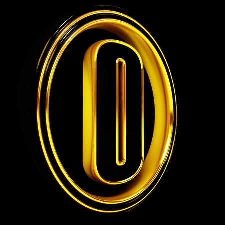 3D Letter zero in circle. Black gold metal photo