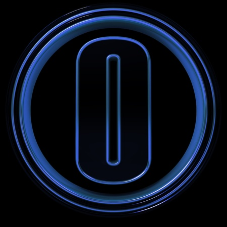 3D Letter zero in circle. Blue metal photo