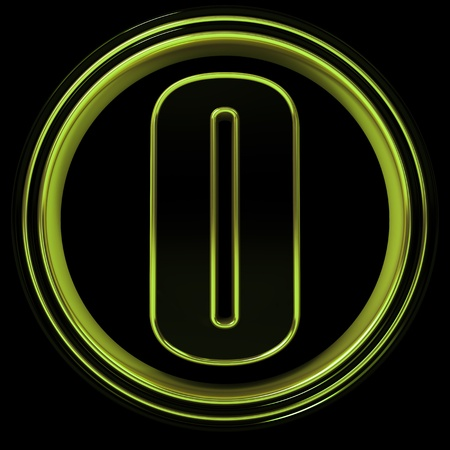 3D Letter zero in circle. Lime metal photo