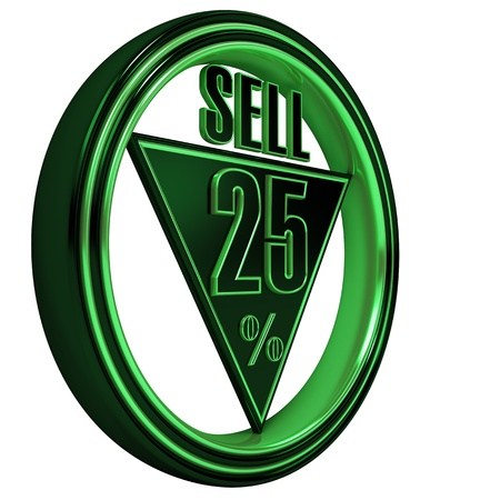 Green metal twenty five percent isolated on white background. 25% Stock Photo - 8855529