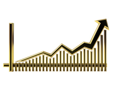 Golden Business Graph with arrow rising up and bars
