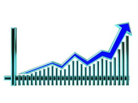 Blue Business Graph with arrow rising up and bars photo