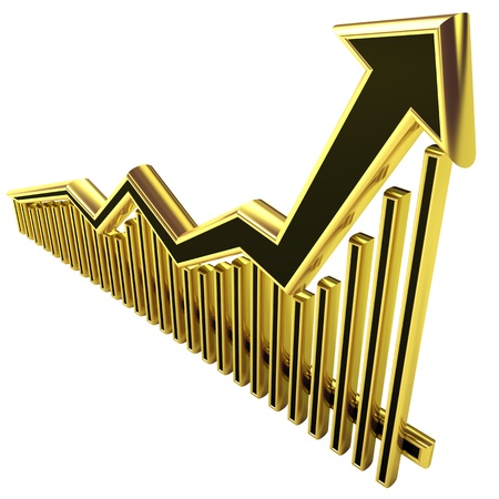 Golden Business Graph with arrow rising up and bars Stock Photo - 8865339