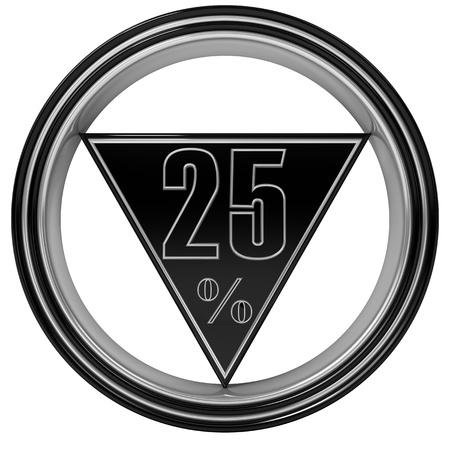 Metal twenty five percent isolated on white background. 25% Stock Photo - 8865341