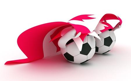 3D cartoon Soccer Ball characters with a Canada flag.
