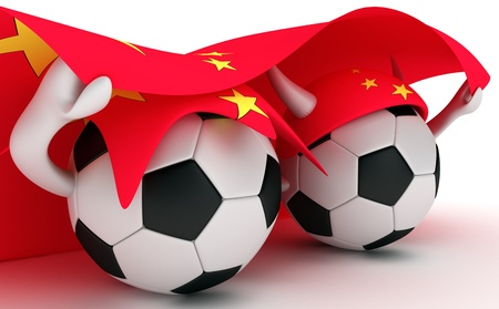 3D cartoon Soccer Ball characters with a China flag. photo