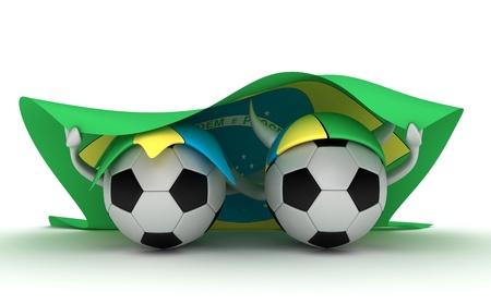 3D cartoon Soccer Ball characters with a Brazil flag.