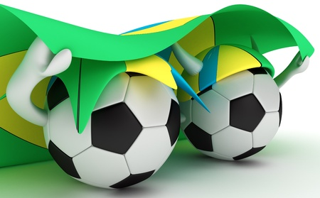 3D cartoon Soccer Ball characters with a Brazil flag. photo