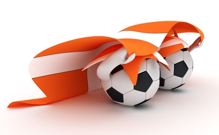 3D cartoon Soccer Ball characters with a Denmark  flag. Stock Photo - 8879694