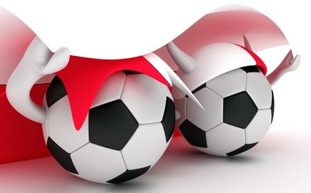 3D cartoon Soccer Ball characters with a Poland flag.