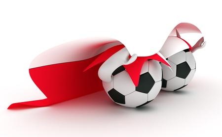 uefa: 3D cartoon Soccer Ball characters with a Poland flag.