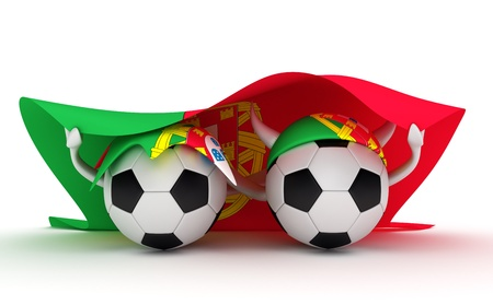 3D cartoon Soccer Ball characters with a Portugal flag. photo