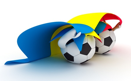 3D cartoon Soccer Ball characters with a Romania flag. photo