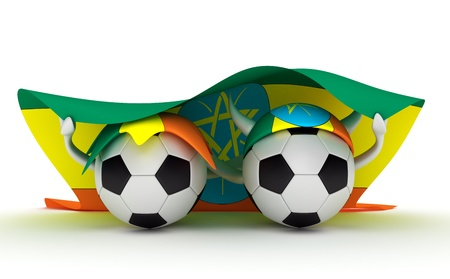 ethiopia abstract: 3D cartoon Soccer Ball characters with a Ethiopia flag.