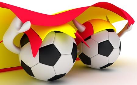 3D cartoon Soccer Ball characters with a Spain flag. photo