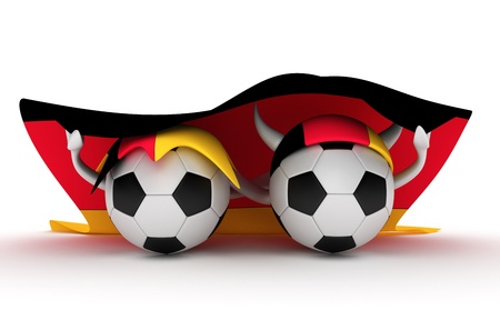 3D cartoon Soccer Ball characters with a Germany flag. photo