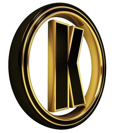 letter writing: 3D Letter k in circle. Black gold metal