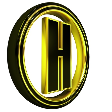 3D Letter h in circle. Black gold metal photo