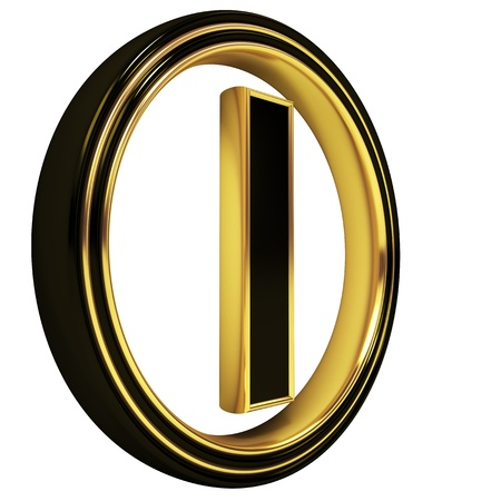 3D Letter i in circle. Black gold metal photo