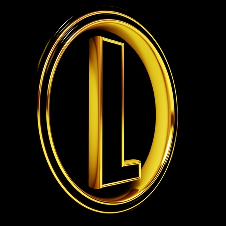 3D Letter l in circle. Black gold metal Stock Photo - 8892279