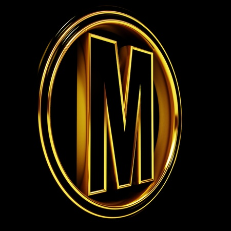 3D Letter m in circle. Black gold metal photo