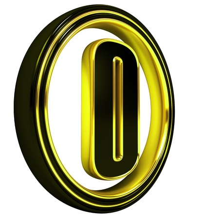 gold metal: 3D Letter o in circle. Black gold metal