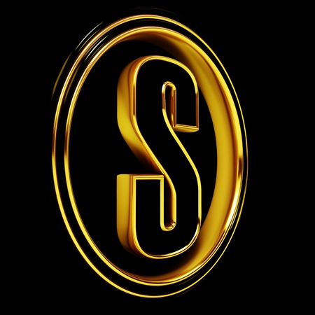 3D Letter s in circle. Black gold metal photo