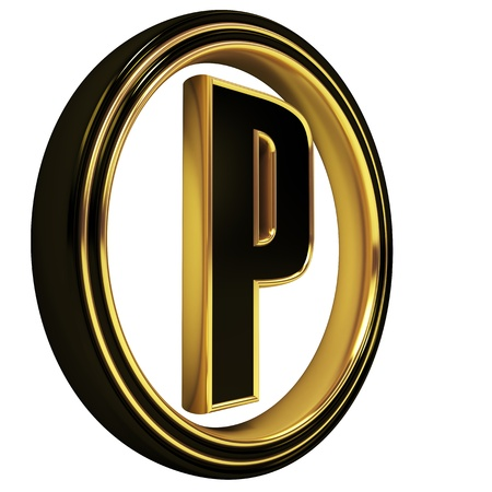 3D Letter p in circle. Black gold metal Stock Photo - 8892311