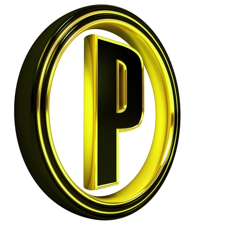 3D Letter p in circle. Black gold metal photo