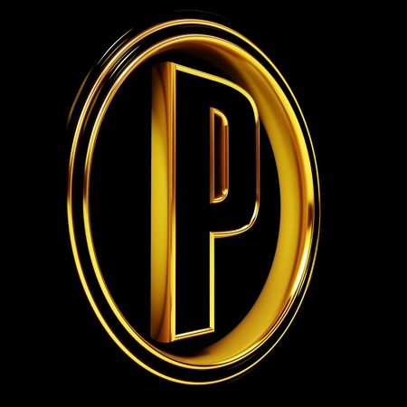 letter p: 3D Letter p in circle. Black gold metal Stock Photo