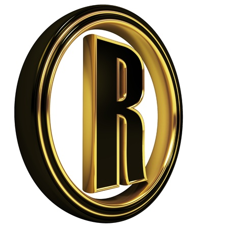 3D Letter r in circle. Black gold metal photo