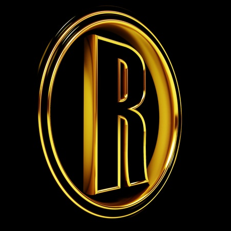 3D Letter r in circle. Black gold metal Stock Photo - 8892290