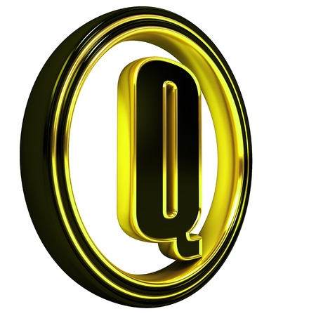 3D Letter q in circle. Black gold metal photo