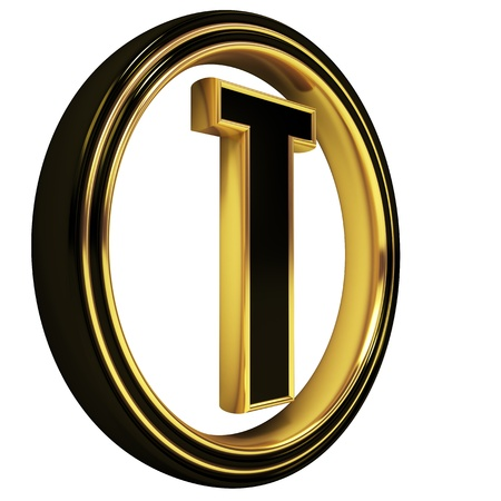 gold metal: 3D Letter t in circle. Black gold metal