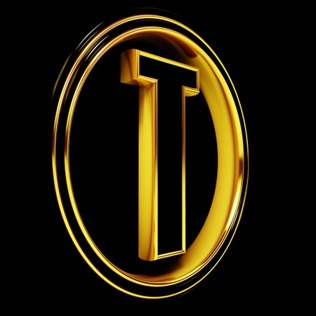 3D Letter t in circle. Black gold metal Stock Photo - 8892280
